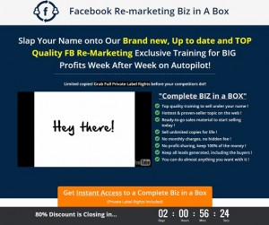 Facebook Re-Marketing Business in a Box PLR